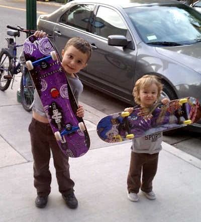 Hunter & Westly with their skateboards