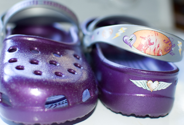 purple Hannah Montana crocs