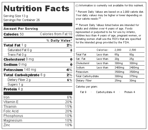 Wheat Nutrition Label Wheat Nutrition Facts Wheat